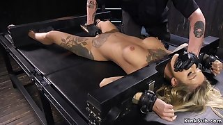 Big-Bosomed alt blond hair girl in different bdsm devices