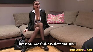Young elegant British girl in sexy suit comes to modeling casting
