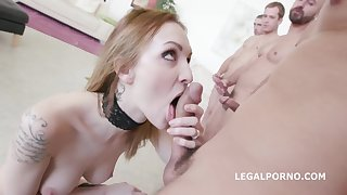 Hot blonde loves to suck and fuck with several men